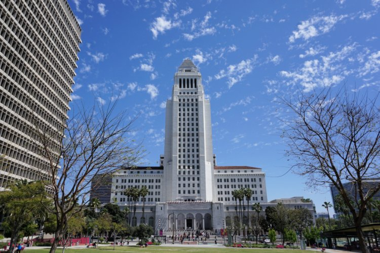 Los Angeles City Hall seen from the Grand Park, Los Angeles, California