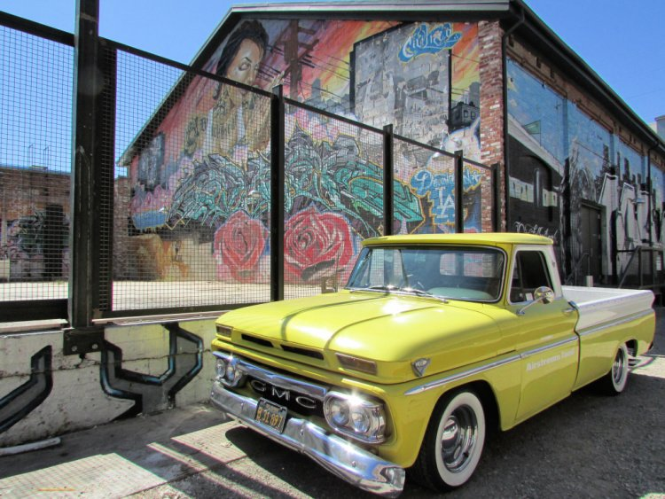 Mural and vintage GMC at the Arts District area of Downtown Los Angeles, A Day in LA, California