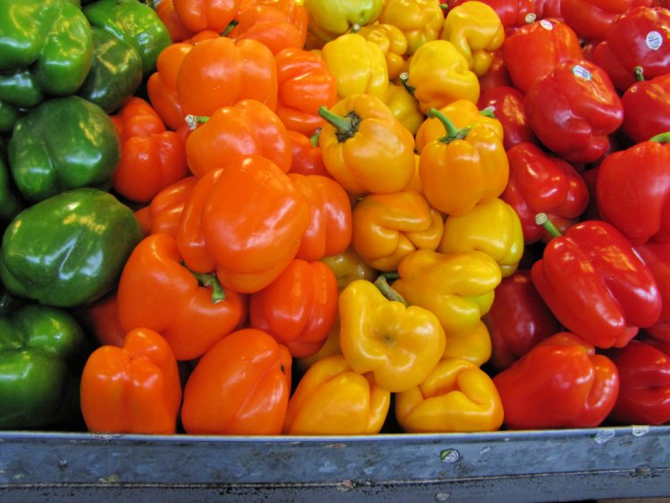 Colorful peppers at the Granville Island Public Market, Vancouver, Canada