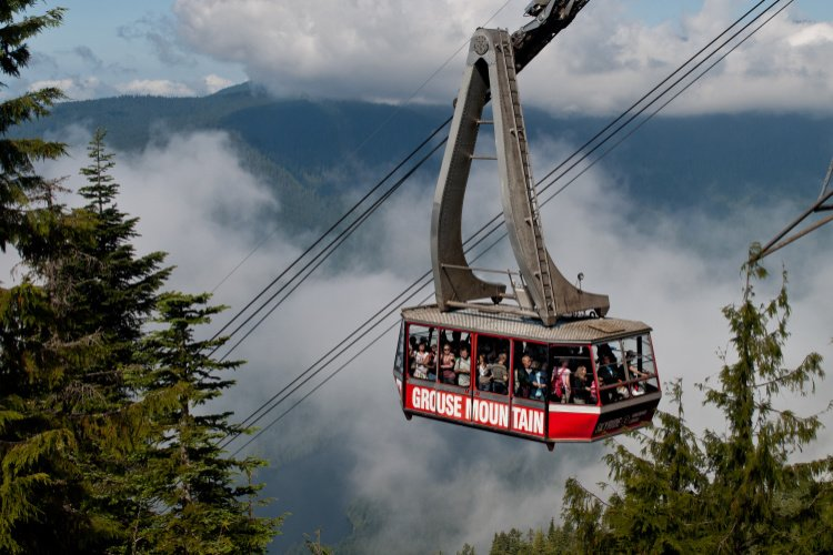 Tram taking visitors to the top of Grouse Mountain, North Vancouver, Canada