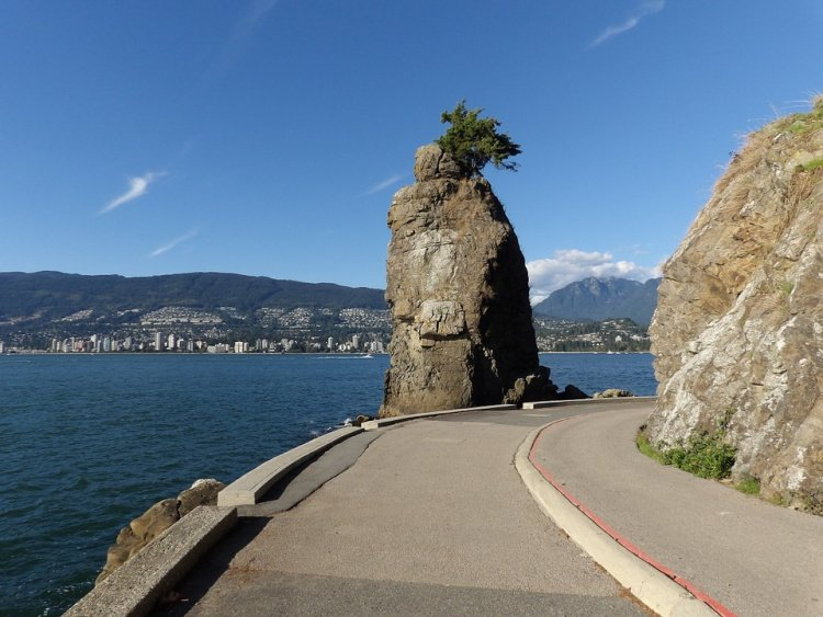 Siwash Rock at Stanley Park Seawall, Vancouver, Canada