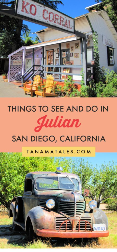 Things to do in #Julian, #California – Julian, the apple pie capital of Southern California, is a place to visit year-round.  My article discusses tons of fun things to do in town.  Check out where to have apple pie and cider. Plus, you can visit a mine, hike, star gaze, pick fruits (during fall) and wine taste. Enjoy!  #SanDiego #SouthernCalifornia