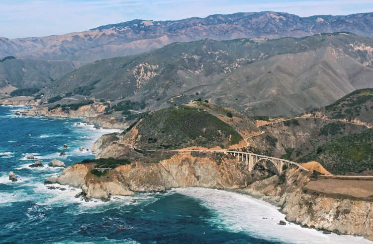 Aerial view of Bixby Bridge, Big Sur Drive