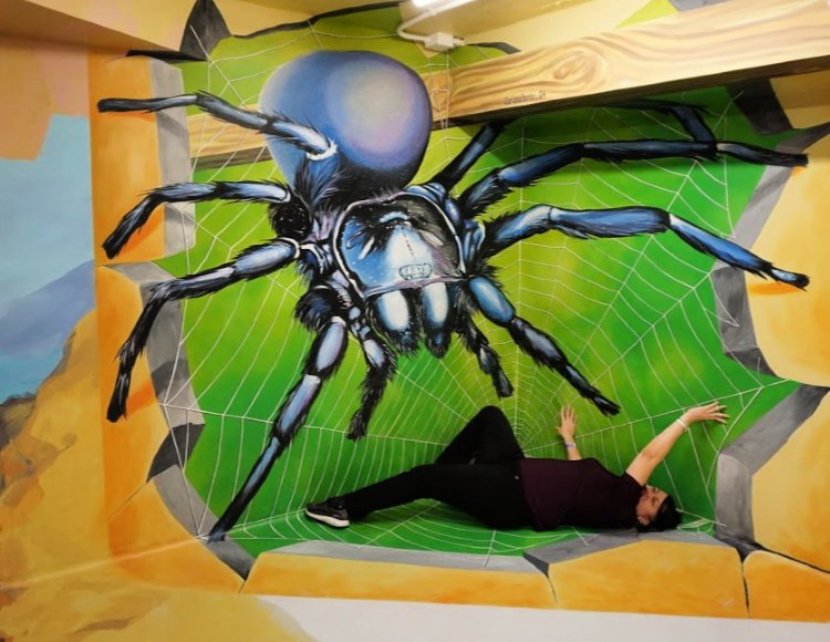 Museum of Illusions: Things to do in Los Angeles and Hollywood, attacked by a spider