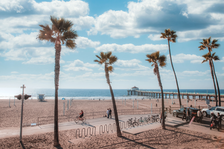 Manharran Beach pier and bike path, Best Beaches Near LAX Airport