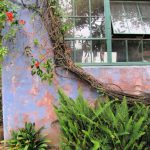 Colorful building, trees and flowers in Downtown Santa Barbara